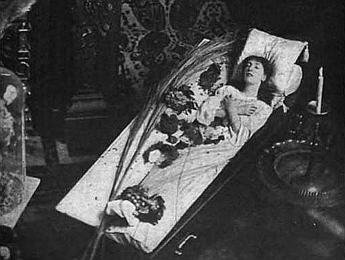 Sarah Bernhardt in Coffin