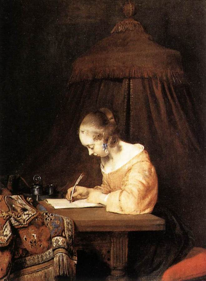 Woman Writing a Letter by Gerard Ter Borch II